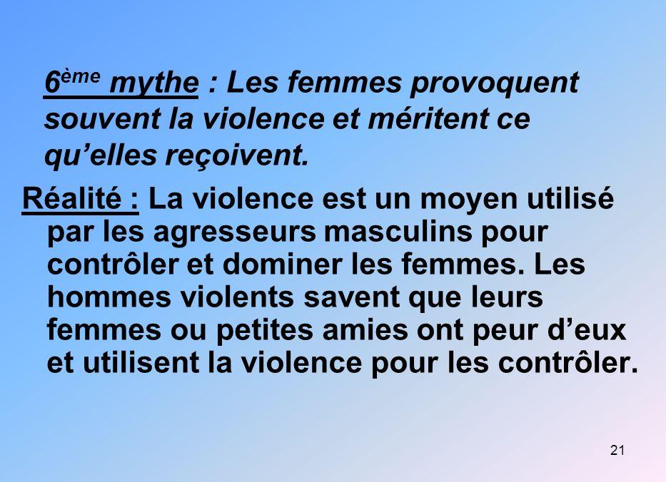 6ème mythe : Les femmes provoquent souvent la violence et méritent ce qu'elles reçoivent.
