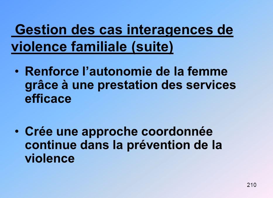 Gestion des cas interagences de violence familiale (suite)