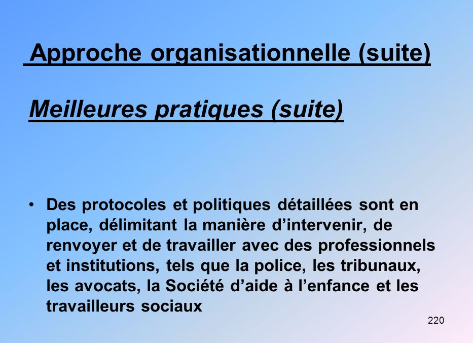 Approche organisationnelle (suite)