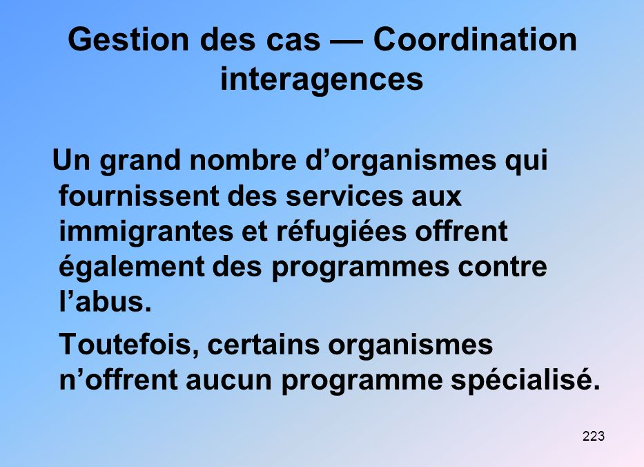 Gestion des cas — Coordination interagences