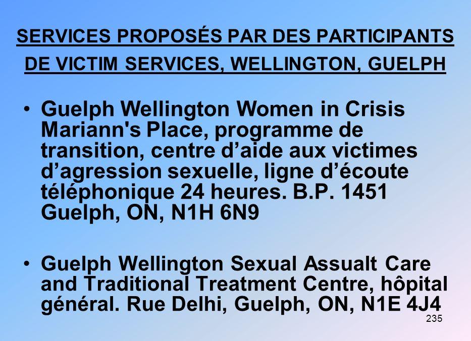 SERVICES PROPOSÉS PAR DES PARTICIPANTS DE VICTIM SERVICES, WELLINGTON, GUELPH