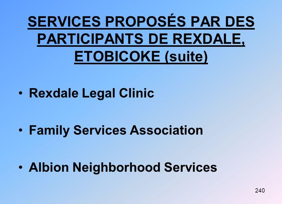 SERVICES PROPOSÉS PAR DES PARTICIPANTS DE REXDALE, ETOBICOKE (suite)