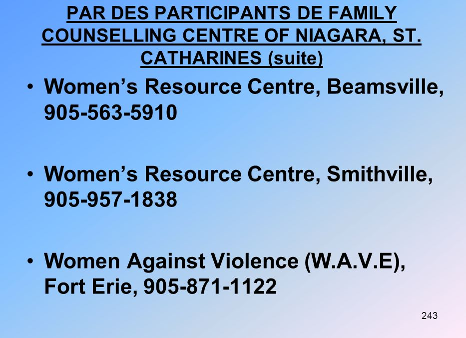 Women's Resource Centre, Beamsville, 905-563-5910