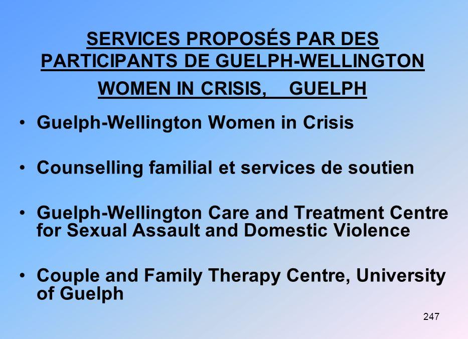 SERVICES PROPOSÉS PAR DES PARTICIPANTS DE GUELPH-WELLINGTON WOMEN IN CRISIS, GUELPH