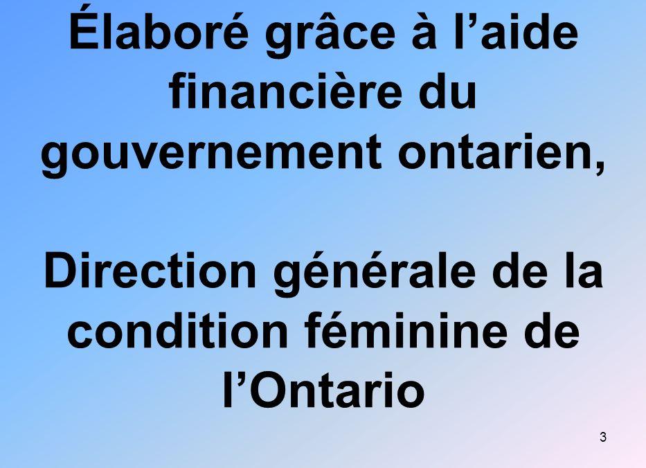 Élaboré grâce à l'aide financière du gouvernement ontarien, Direction générale de la condition féminine de l'Ontario