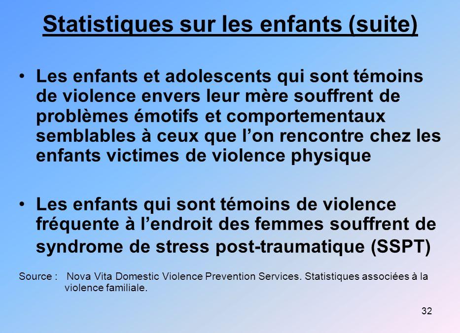 Statistiques sur les enfants (suite)
