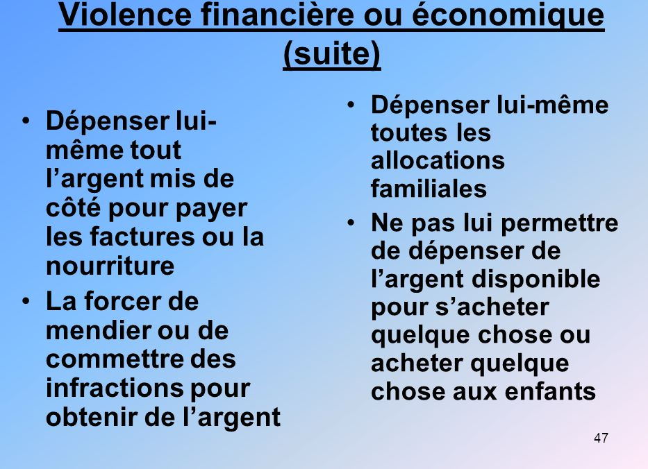 Violence financière ou économique (suite)