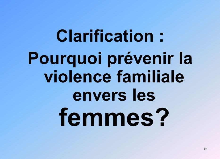 Pourquoi prévenir la violence familiale envers les femmes