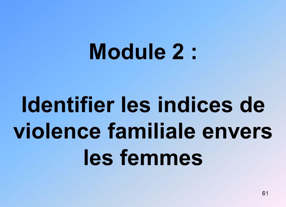Module 2 : Identifier les indices de violence familiale envers les femmes