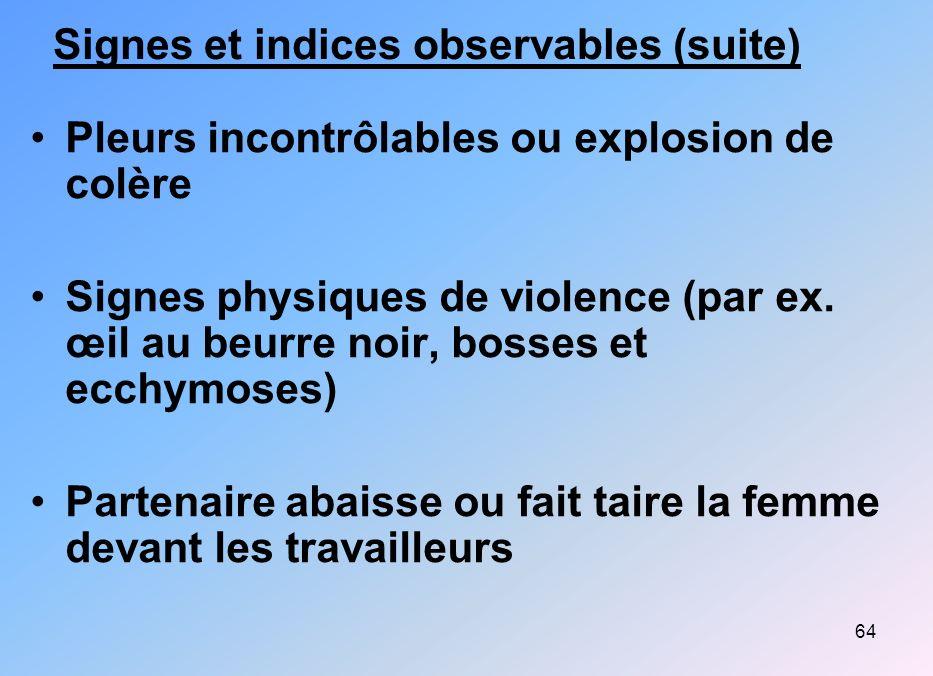 Signes et indices observables (suite)