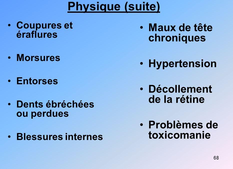 Physique (suite) Maux de tête chroniques Hypertension