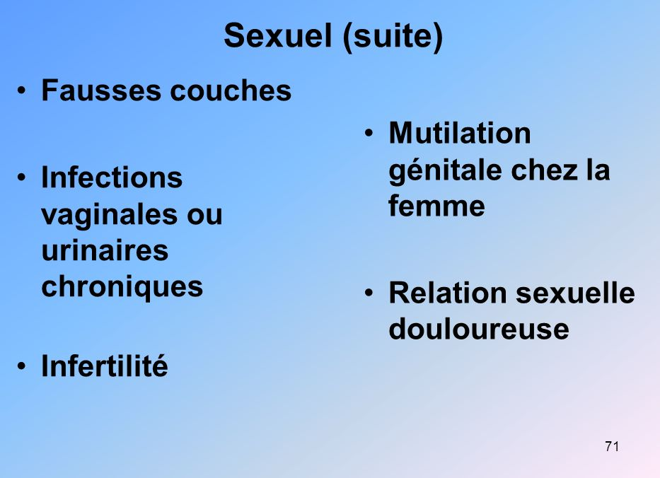 Sexuel (suite) Fausses couches