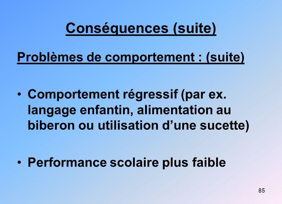 Conséquences (suite) Problèmes de comportement : (suite)