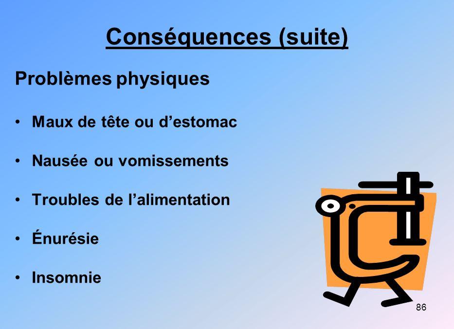 Conséquences (suite) Problèmes physiques Maux de tête ou d'estomac