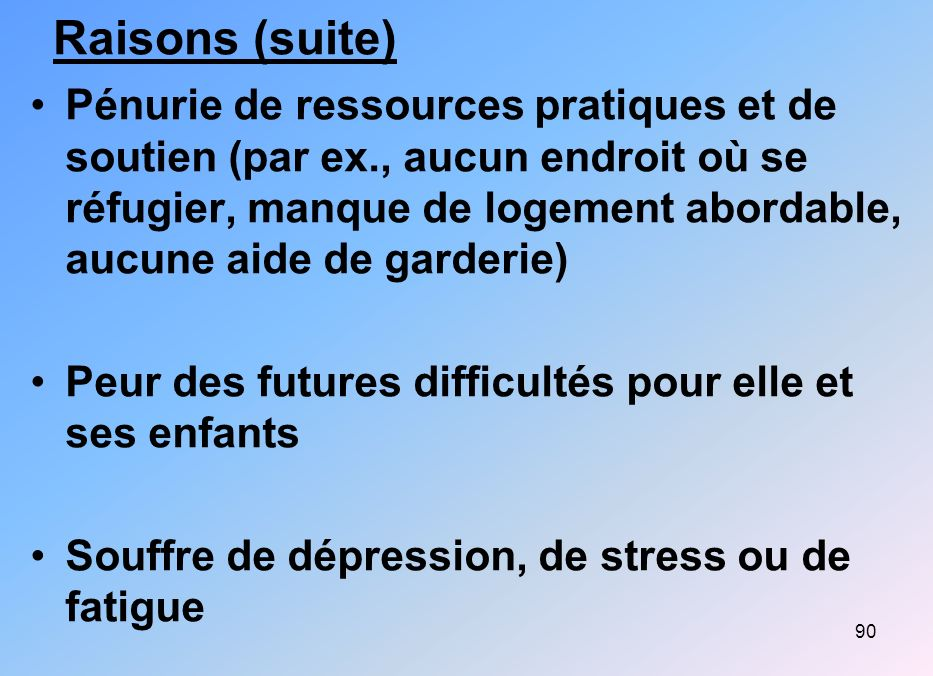 Raisons (suite)
