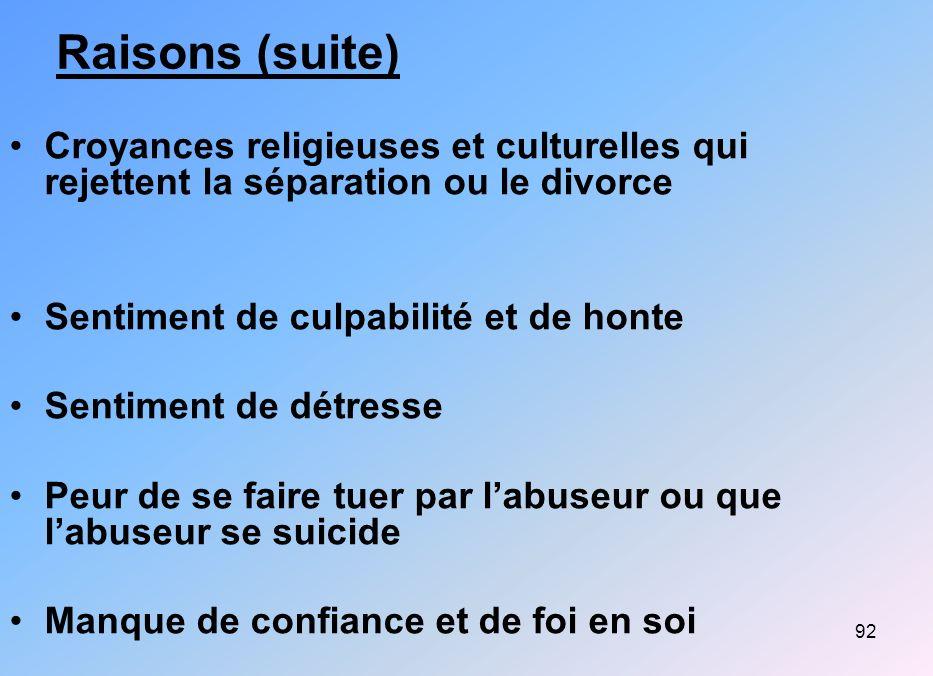 Raisons (suite) Croyances religieuses et culturelles qui rejettent la séparation ou le divorce. Sentiment de culpabilité et de honte.