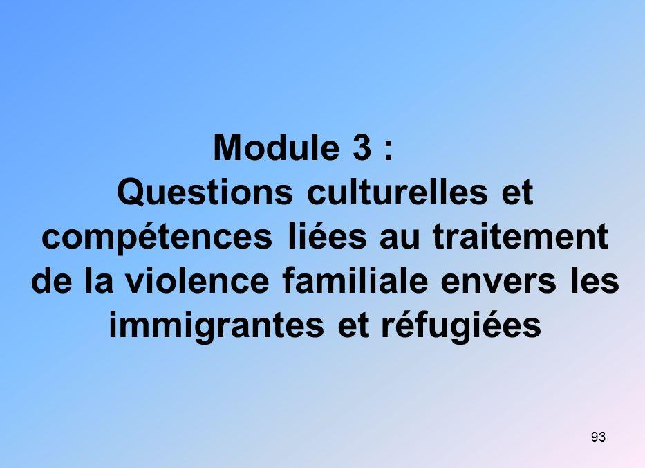 Module 3 : Questions culturelles et compétences liées au traitement de la violence familiale envers les immigrantes et réfugiées