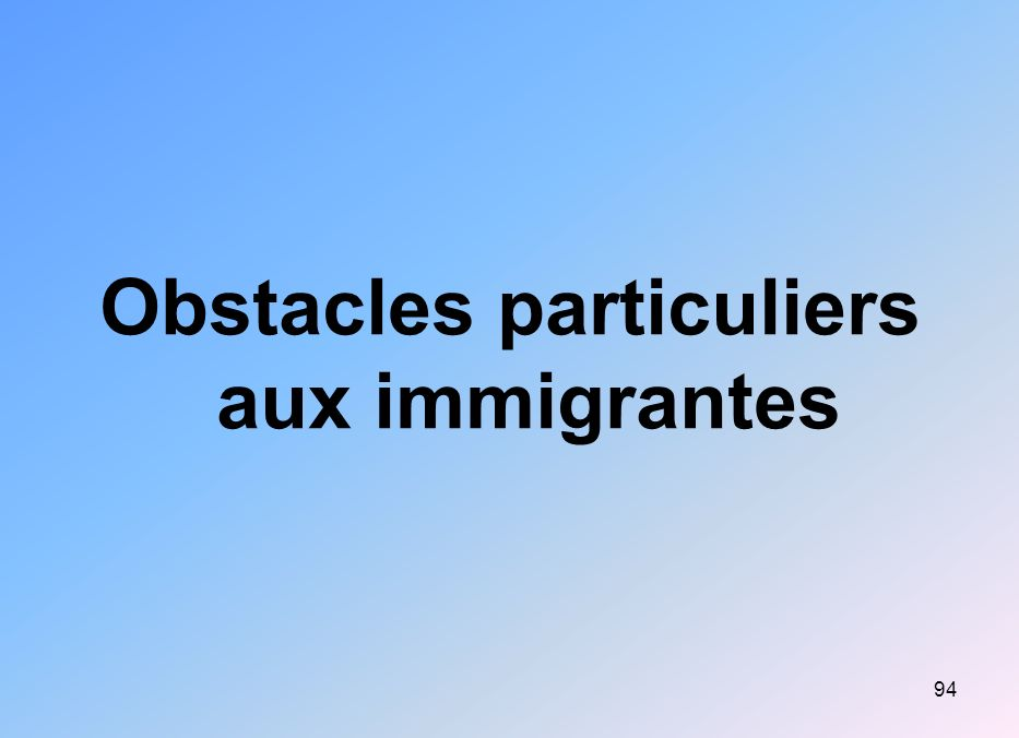 Obstacles particuliers aux immigrantes