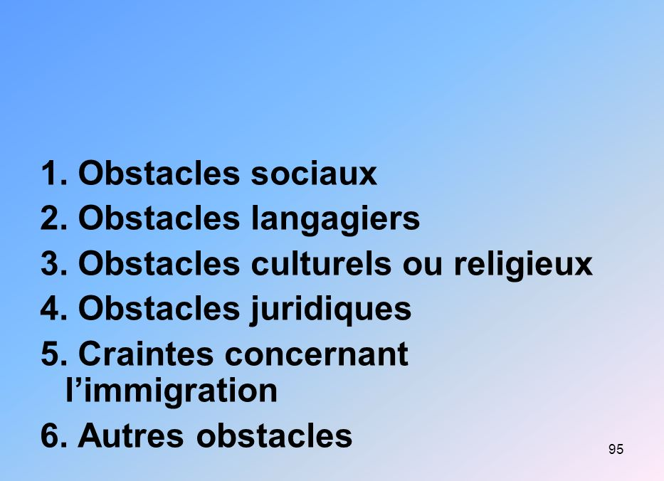 1. Obstacles sociaux 2. Obstacles langagiers. 3. Obstacles culturels ou religieux. 4. Obstacles juridiques.
