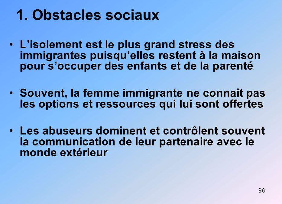 1. Obstacles sociaux