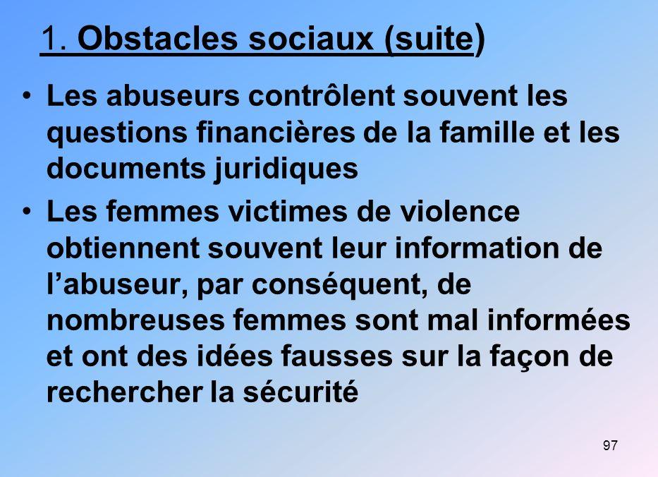 1. Obstacles sociaux (suite)