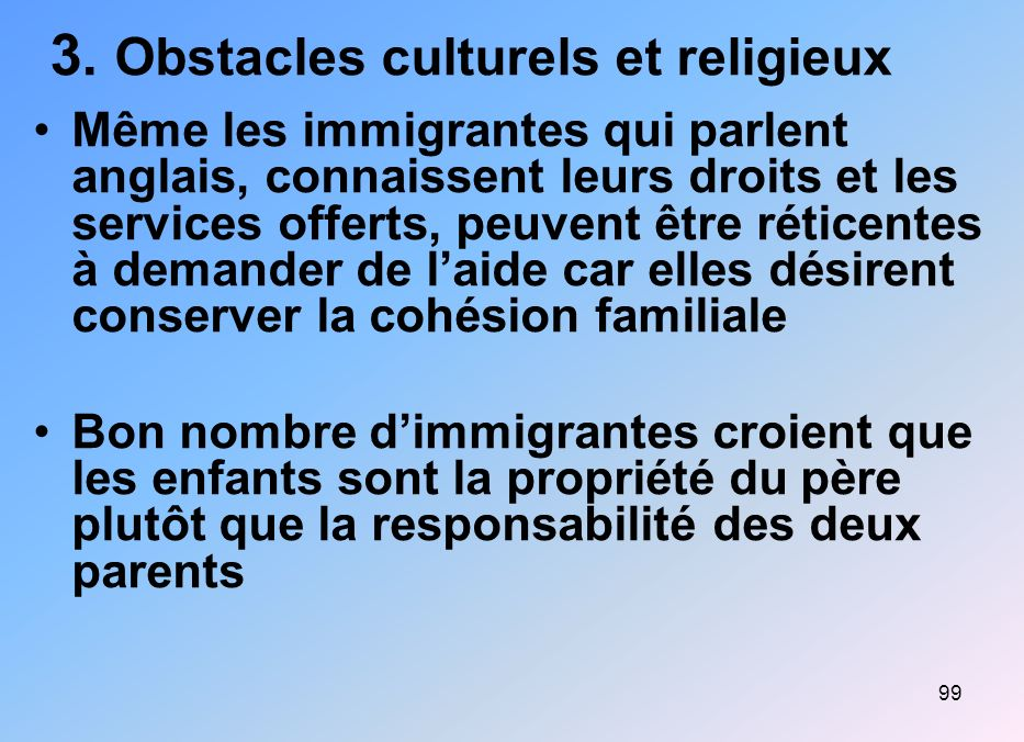 3. Obstacles culturels et religieux