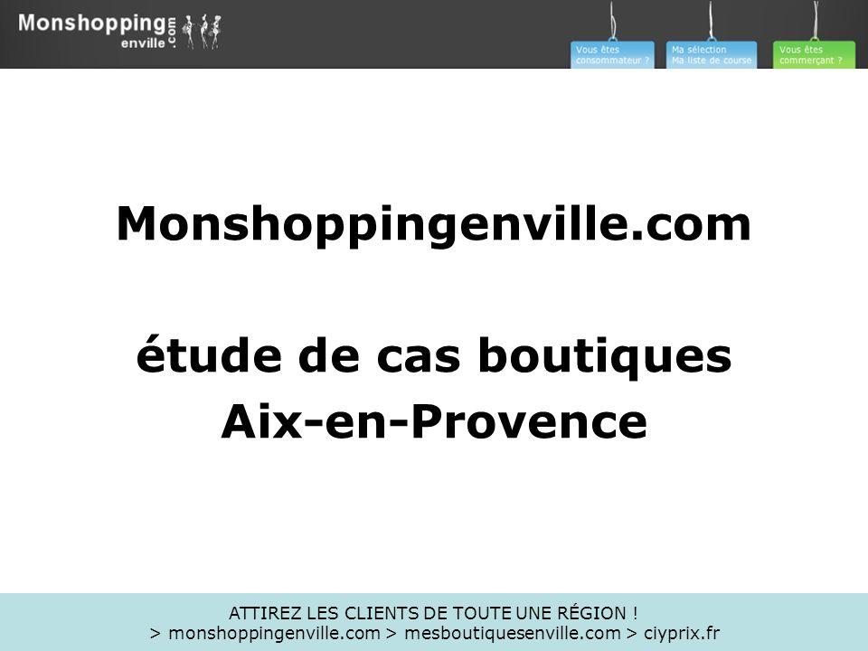 Monshoppingenville.com étude de cas boutiques Aix-en-Provence