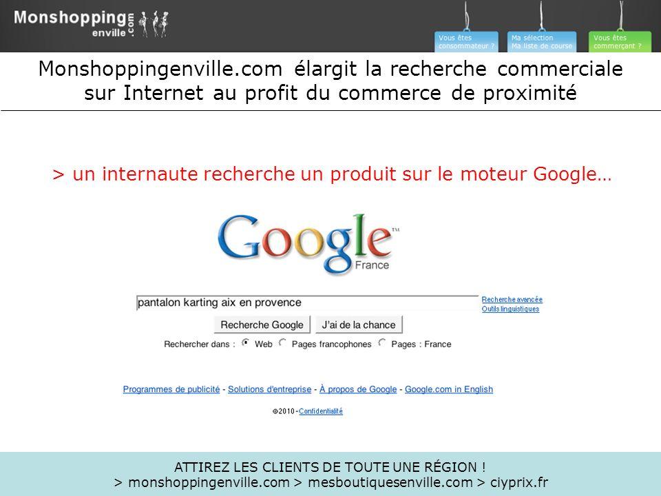 > un internaute recherche un produit sur le moteur Google…
