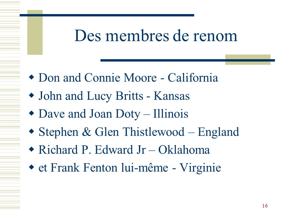 Des membres de renom Don and Connie Moore - California
