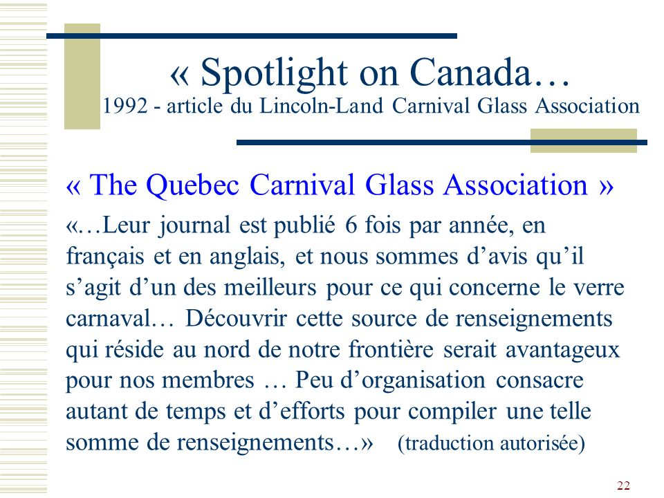 « Spotlight on Canada… 1992 - article du Lincoln-Land Carnival Glass Association