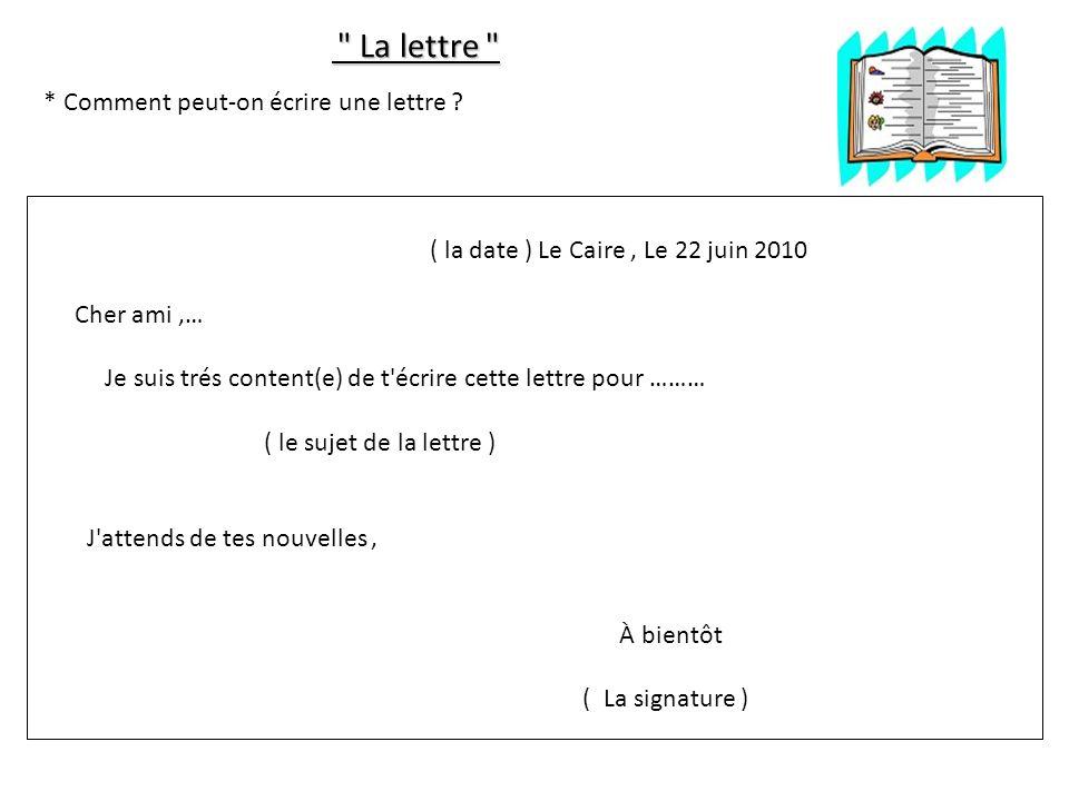 La lettre * Comment peut-on écrire une lettre ( la date ) Le Caire , Le 22 juin 2010. Cher ami ,…
