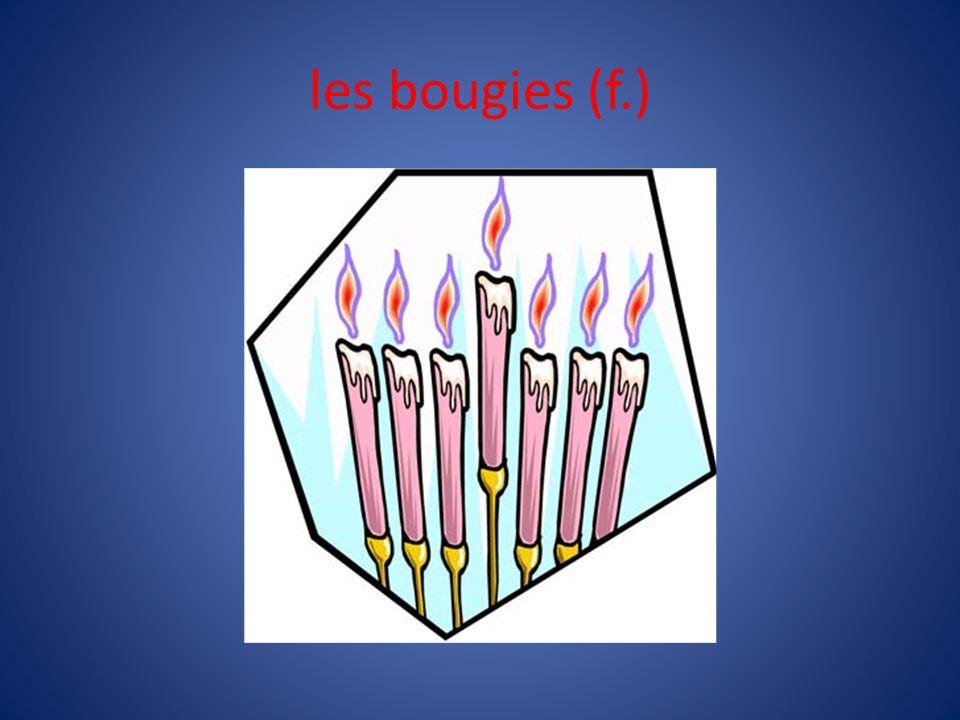 les bougies (f.) Vous avez combien de bougies sur ton gâteau d'aniversaire J'en ai _____.