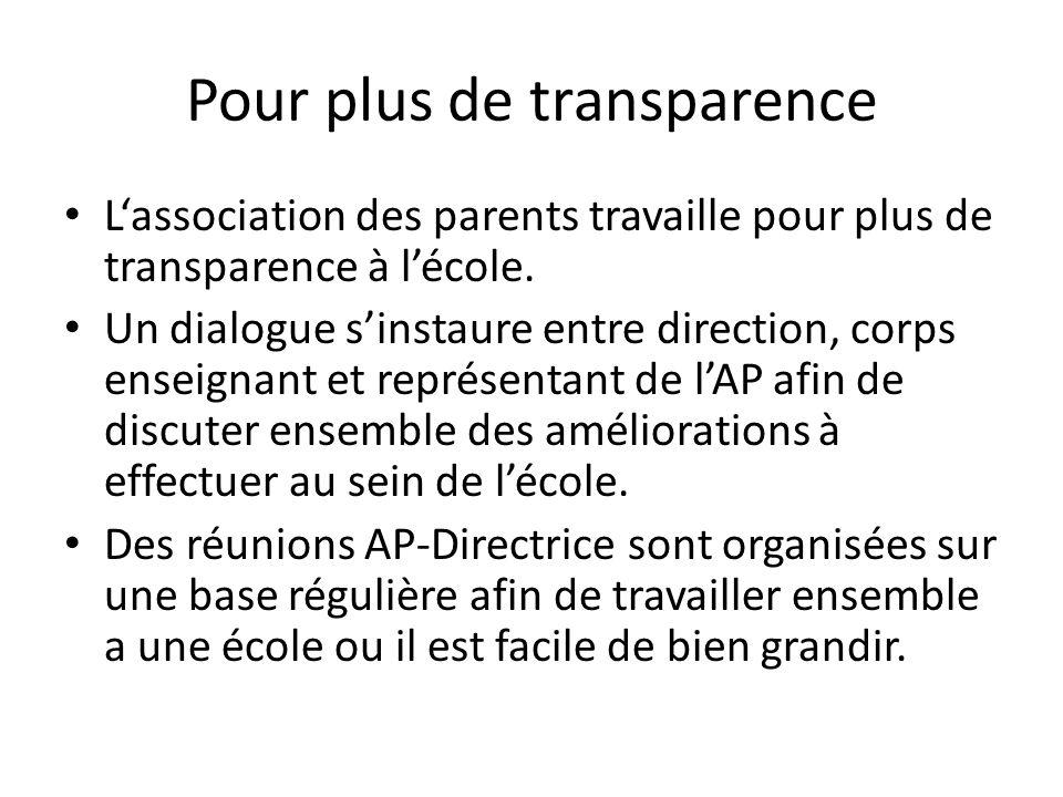 Pour plus de transparence