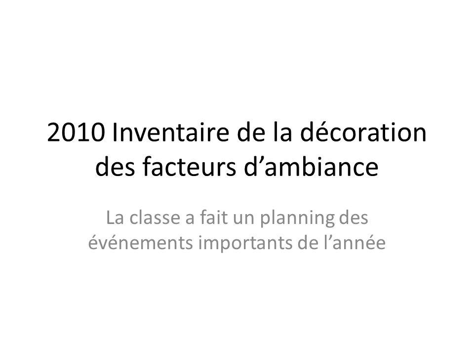 2010 Inventaire de la décoration des facteurs d'ambiance