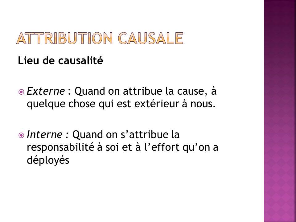 Attribution causale Lieu de causalité