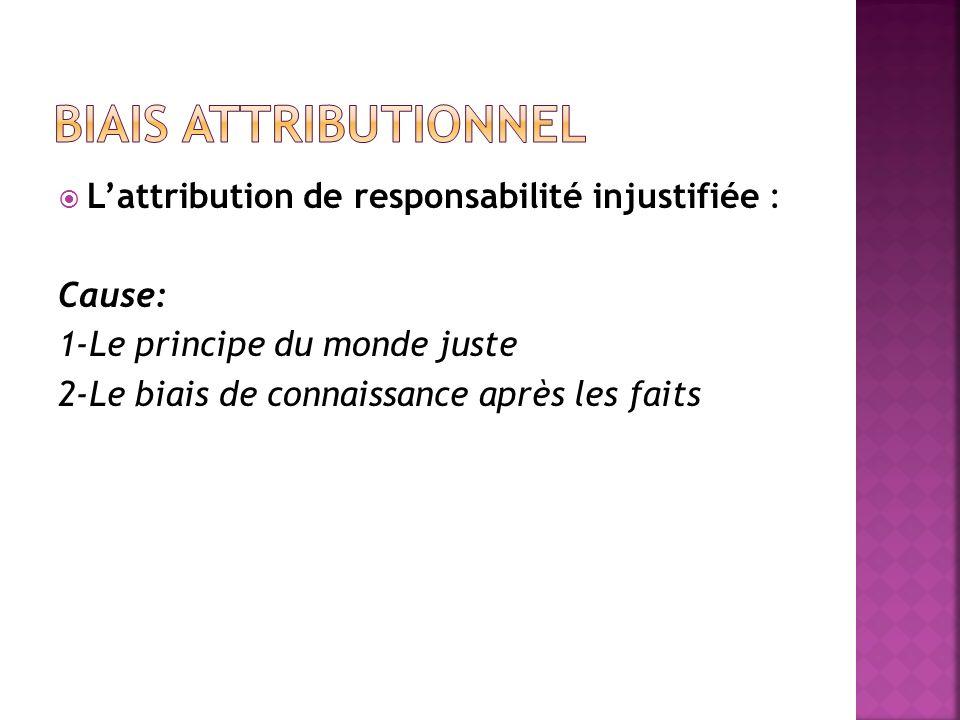 Biais attributionnel L'attribution de responsabilité injustifiée :