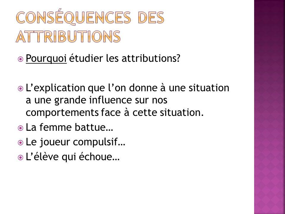 Conséquences des attributions
