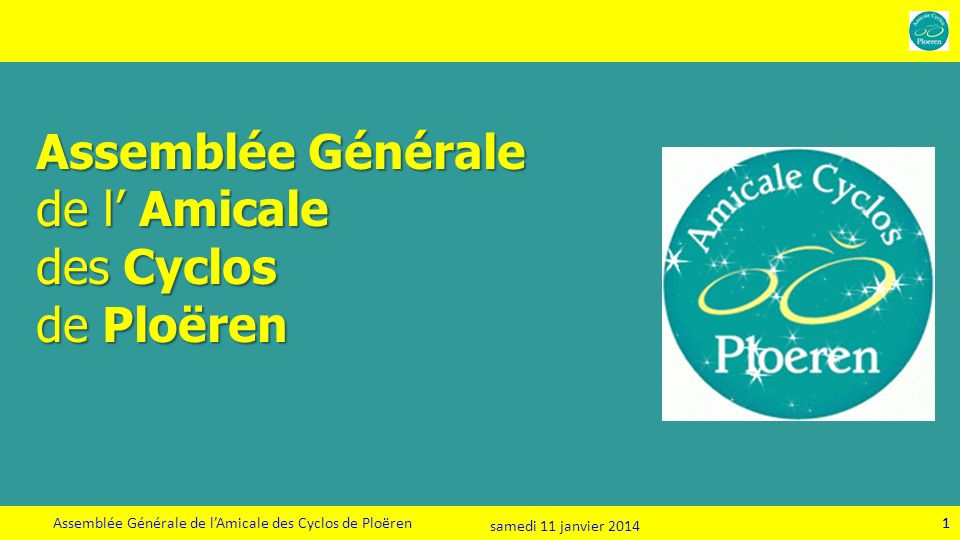Assemblée Générale de l'Amicale des Cyclos de Ploëren