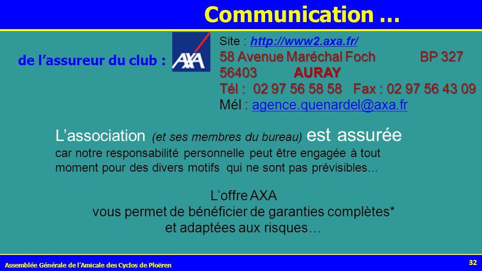 Communication … Site : http://www2.axa.fr/ 58 Avenue Maréchal Foch BP 327. 56403 AURAY.