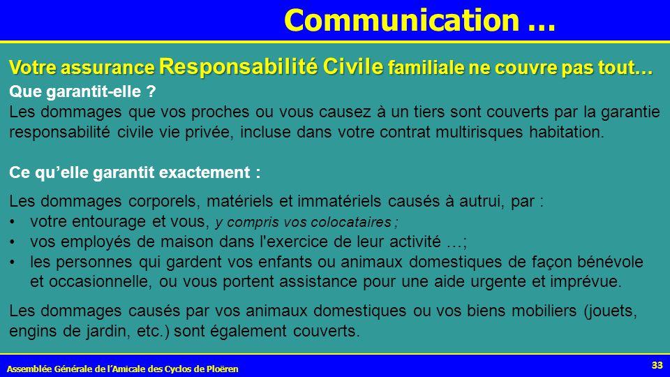 Communication … Votre assurance Responsabilité Civile familiale ne couvre pas tout… Que garantit-elle