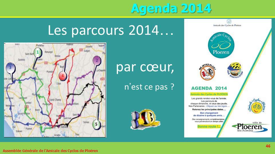 Les parcours 2014… par cœur, n'est ce pas Agenda 2014