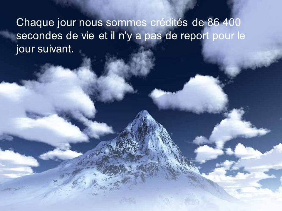 Chaque jour nous sommes crédités de 86 400 secondes de vie et il n y a pas de report pour le jour suivant.