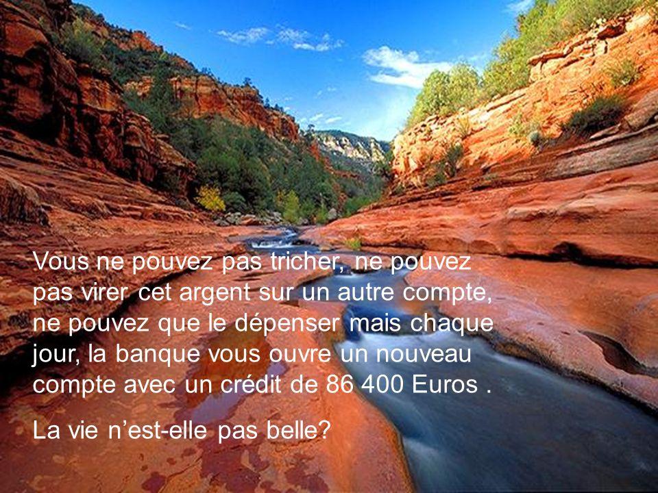 Vous ne pouvez pas tricher, ne pouvez pas virer cet argent sur un autre compte, ne pouvez que le dépenser mais chaque jour, la banque vous ouvre un nouveau compte avec un crédit de 86 400 Euros .