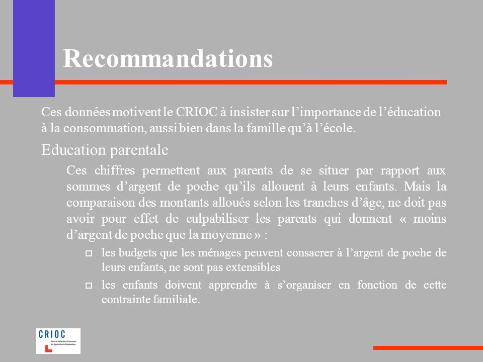 Recommandations Education parentale