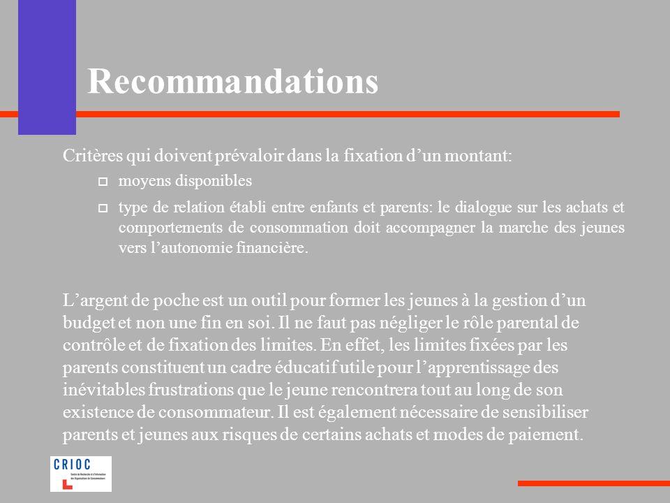 Recommandations Critères qui doivent prévaloir dans la fixation d'un montant: moyens disponibles.