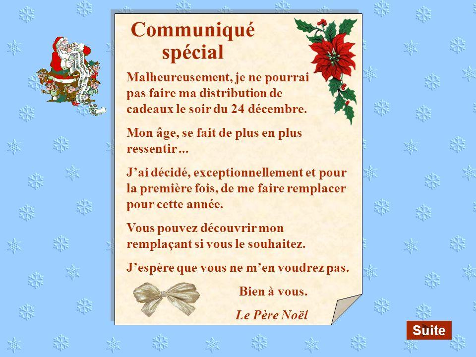 Communiqué spécial. Malheureusement, je ne pourrai pas faire ma distribution de cadeaux le soir du 24 décembre.