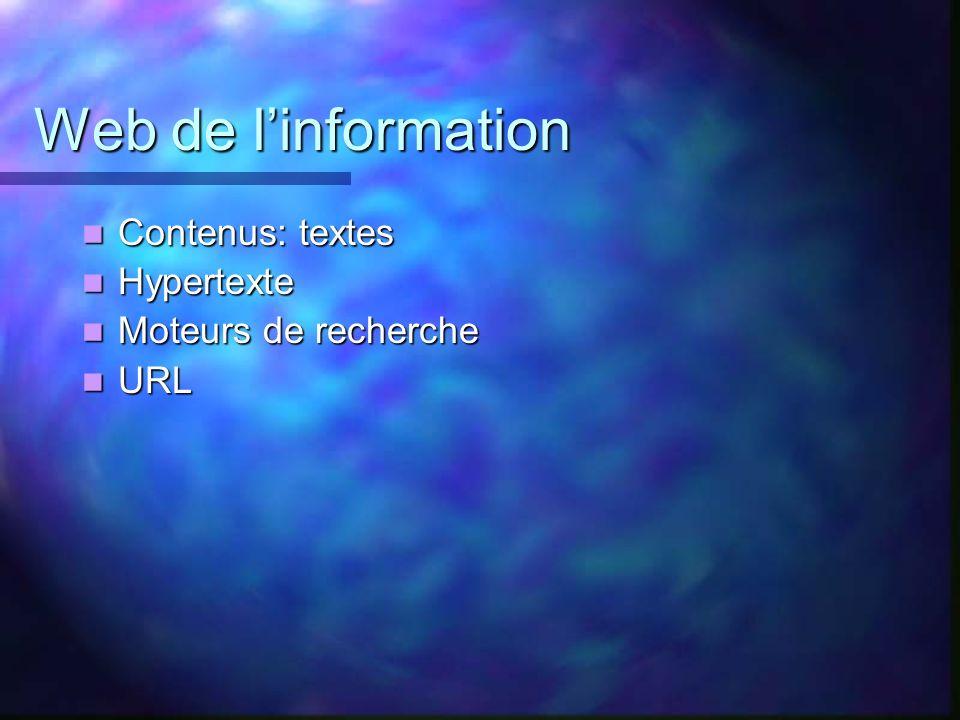 Web de l'information Contenus: textes Hypertexte Moteurs de recherche