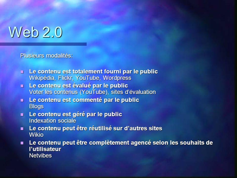 Web 2.0 Plusieurs modalités: