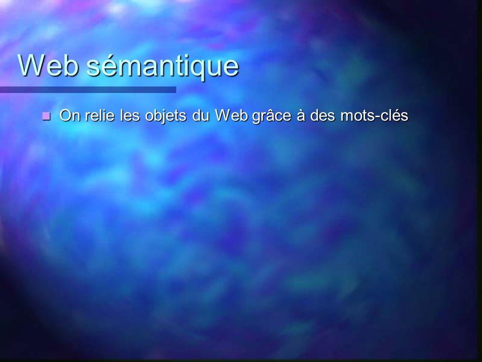 Web sémantique On relie les objets du Web grâce à des mots-clés