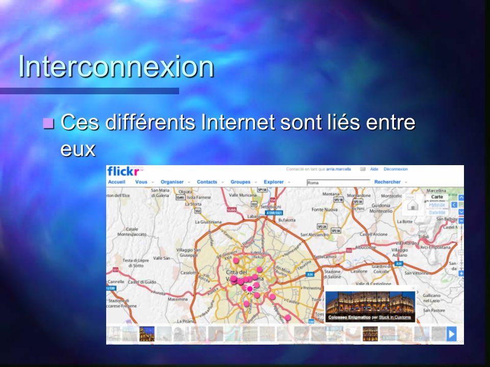 Interconnexion Ces différents Internet sont liés entre eux